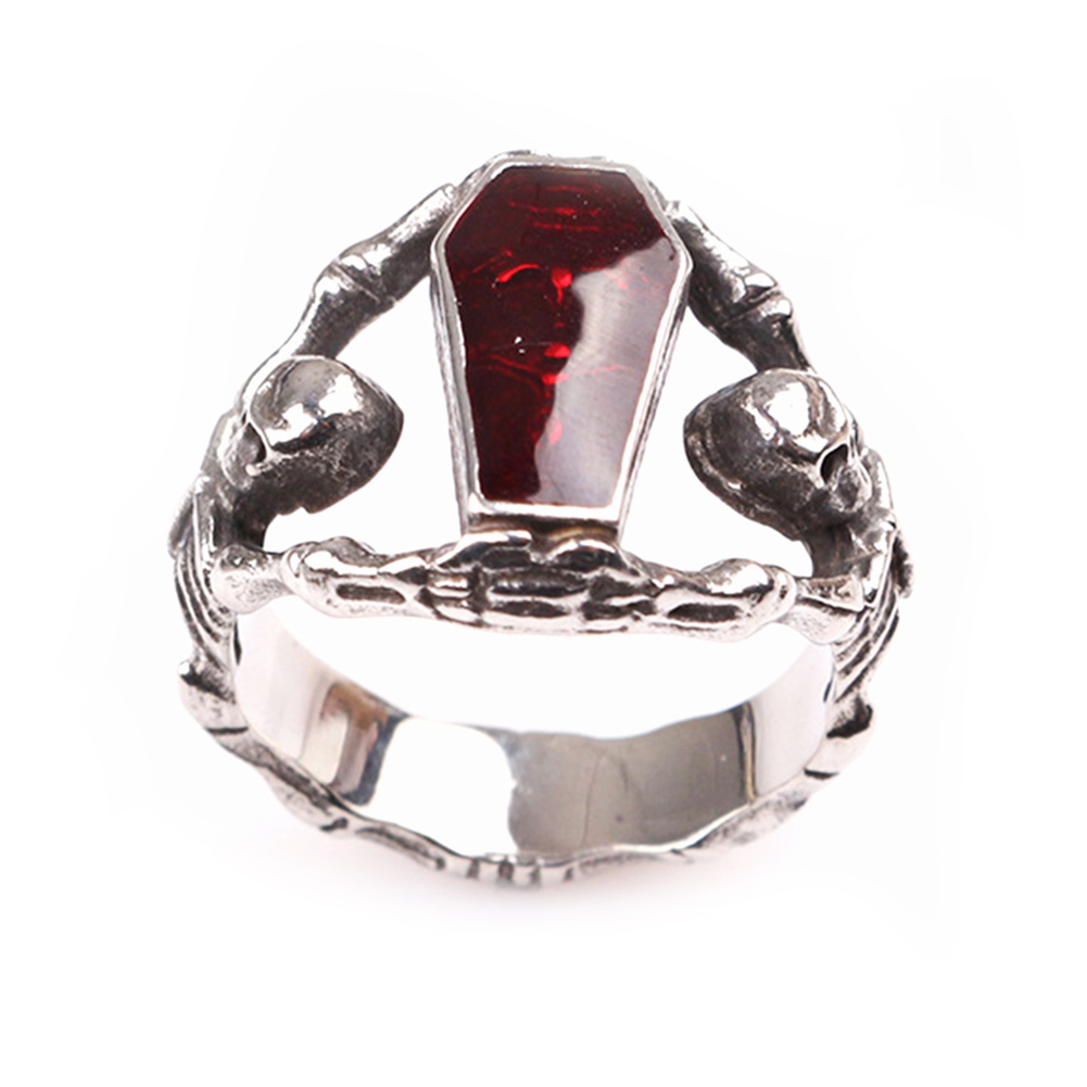 High Quality Mens Boys Skull Gothic Skeleton Coffin Rings Men And Women Jewelry Ring