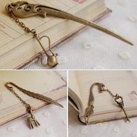 Retro Alloy Metal Bookmark Flagon Key Fawn 3 Shape Fashion Vintage Bookmarks For Students School Office Supplies