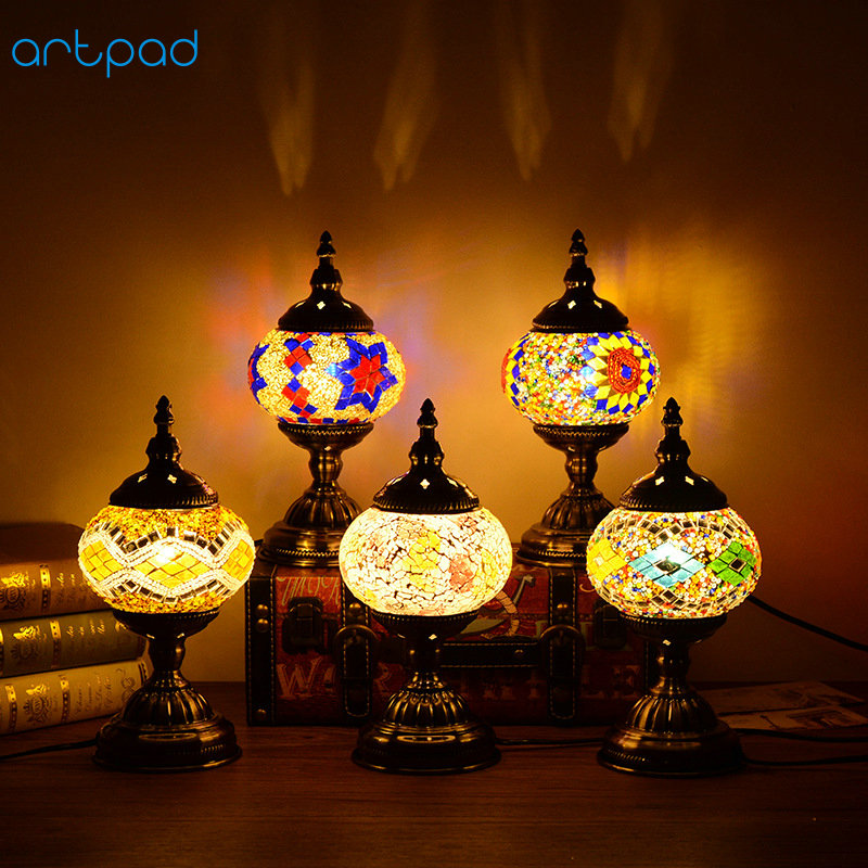E14 Coffee Bar Living Room Bedside Indoor Handmade Glass Lighting Turkish Desk Lamp Retro Classic Color Table Lamp Bulb Included