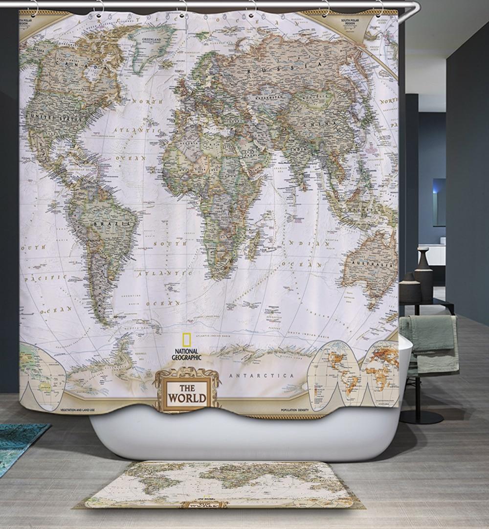 online buy wholesale vintage shower curtain from china vintage  - homing d creative vintage world map elephant polyester waterproof mildewresistant shower curtain modern cozy bathroom