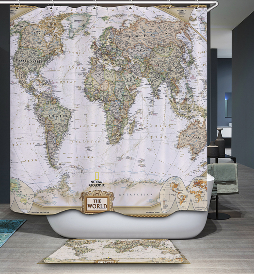 Antique World Map Shower Curtain - Homing 3d creative vintage world map elephant polyester waterproof mildew resistant shower curtain modern cozy bathroom