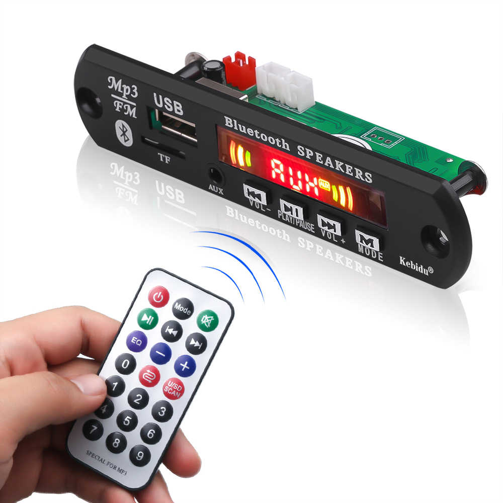 Kebidu 2*3 усилитель Bluetooth 5 в MP3 WMA декодер плата аудио модуль Поддержка USB tf-карта радио запись вызова цветной экран для автомобиля