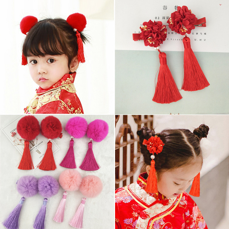 Mother & Kids Balleenshiny 2pcs New Year Headwear Set Baby Festival Chinese Style Red Hairpins Children Kids Princess Tassel Flower Hair Clips Accessories