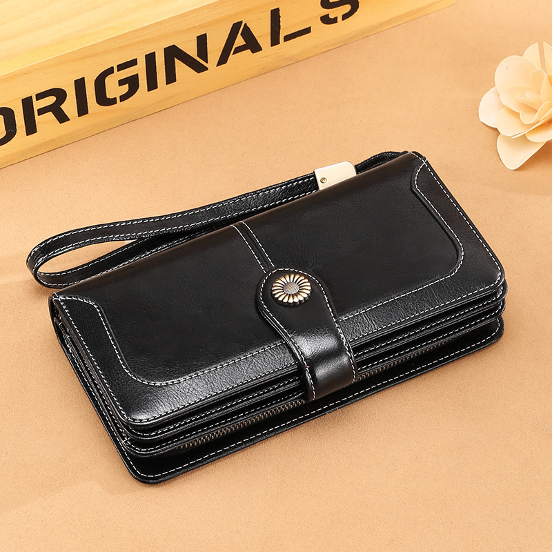 SENDEFN Long Genuine Leather Women Wallet Female Clutch Bags Cow Leather Coin Purse Credit Card Holder Good QualIty Fashion in Wallets from Luggage Bags