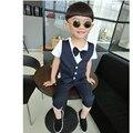 2016 Baby Boy Estilo de Inglaterra de Ropa Set Chaleco Falso T-shirt + Pantalones a rayas Niño de Dos Piezas Con La Moda Arco Caballero Traje de Niño