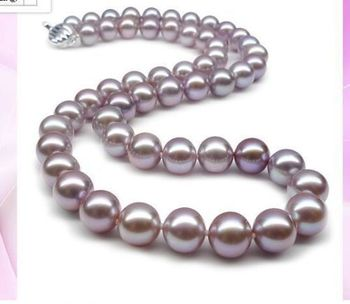free shupping 150401 J0006 Charming 9-10mm genuine pink purple pearl necklace free shipping USPS to ISA RUSSIA