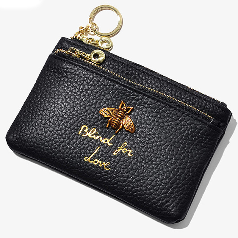 Genuine Leather Woman Coin Purses Bee Decoration Mini Square Wallet Key Wallet Zipper Cowhide Card Holder