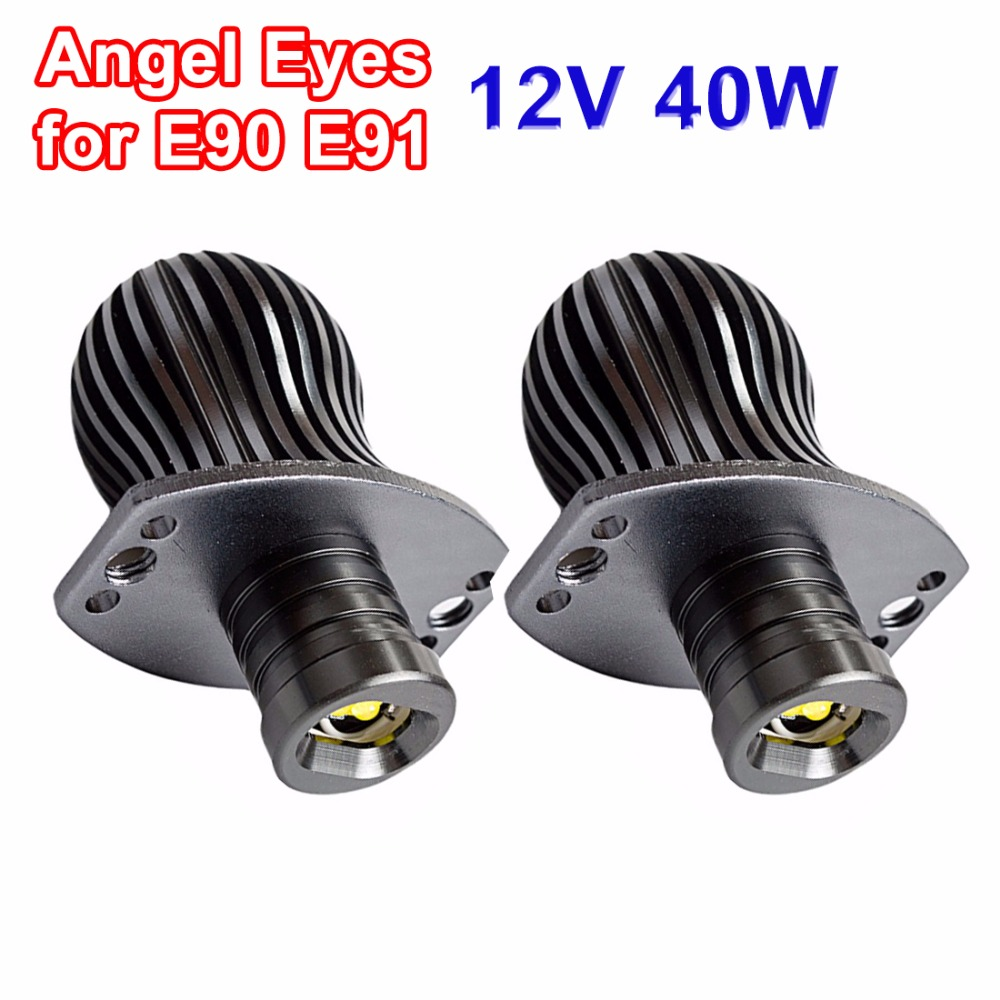 hippcron LED Marker Angel Eyes 2*20W 40W High Power White Color Halo Light CREE LED Chips DRL for BMW E91 E90