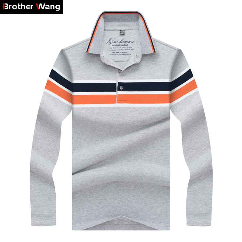 Brand Clothes 2019 New Men's   POLO   Shirt High Quality Business Casual Stripe Contrast Long Sleeves Tops Clothing Gray Navy