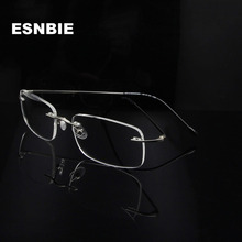 ESNBIE Ultralight Stainless Steel MenS Rimless Eyewear Frames Women Square Myopia Eyeglasses Frame Lentes Opticos Mujer