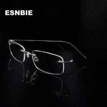b3f6023e00 Gafas de acero inoxidable ultraligeras con montura sin montura para hombre,  montura cuadrada de miopía para Mujer