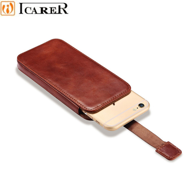 ICARER Vintage Mobile Phone Pouch Bag for IPhone 7 6 6S Plus Luxury Genuine Leather Push Out Holster Case for IPhone 6 6S 7