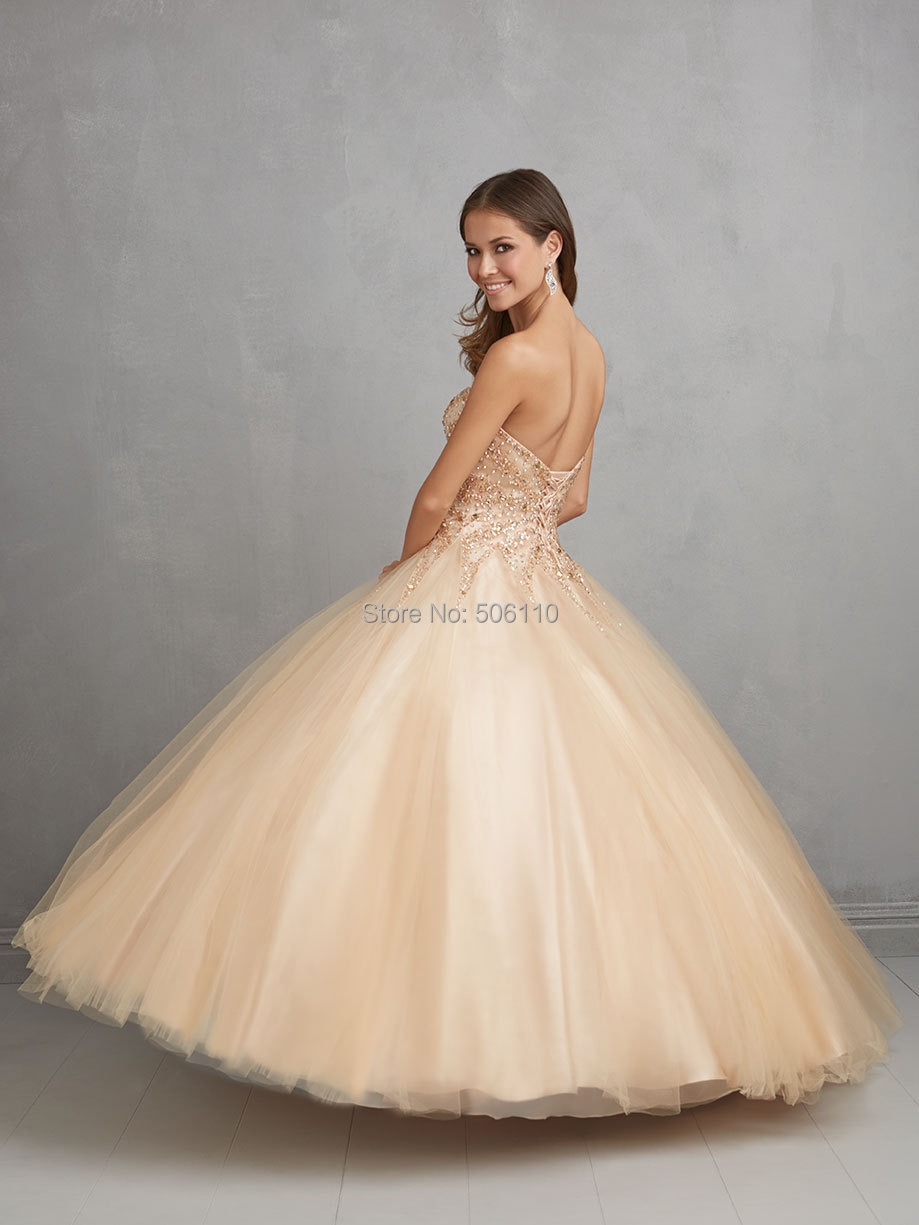 2015 Champagne Ball Gown Cheap Quinceanera Dress Tulle Crystal ...