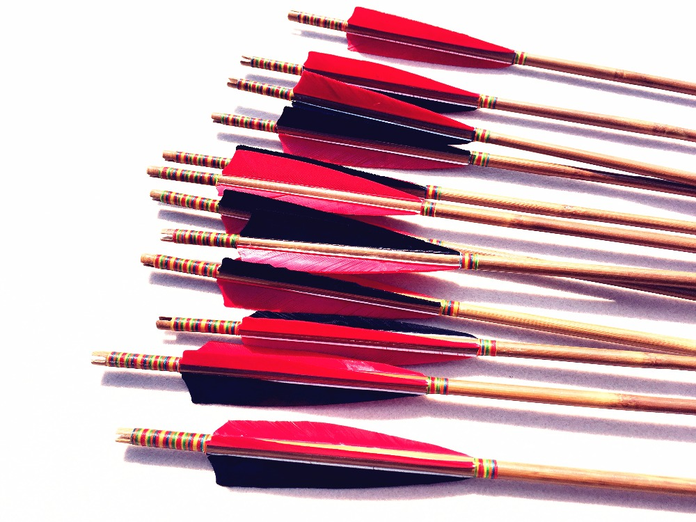 12pcs Red White archery bow bamboo arrow completed hunting and shooting