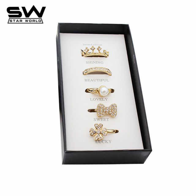 STARWORLD 5 pcs Fashion Rings Set With Free Gift Imitation Pearls Bowknot Crown Ring Gold plated Finger Ring for Women Jewelry