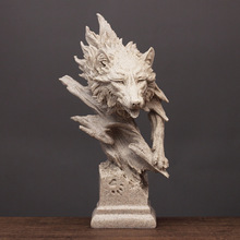 New Resin Wolf Statue Creative Head abstract Sculpture Feather Home Office Desk Decor Birthday Gift Decoration