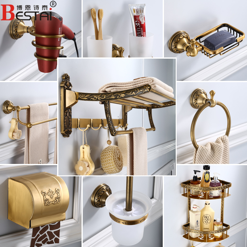 European Antique Carved Towel Rack Space Aluminum Bathroom Shelf Paper Box Wall Mount Towel Bar Bathroom Hardware Pendant Set стоимость