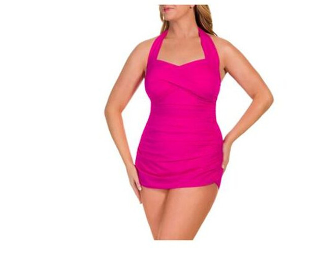 cc67c5e295ec3 Suddenly Slim by Catalina Women's Slimming Shirred Halter One-Piece Swimsuit