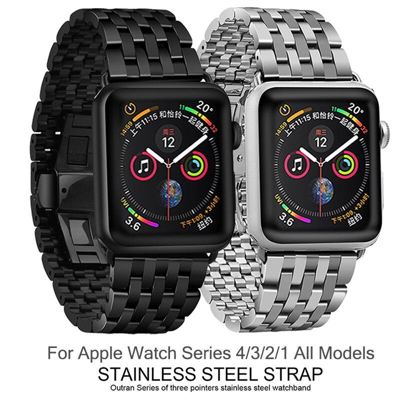 HOCO bracelet de montre pour Apple Montre 40mm 44mm Métal Bracelet avec Papillon Boucle iWatch Bracelet pour Série 4 3 2 1