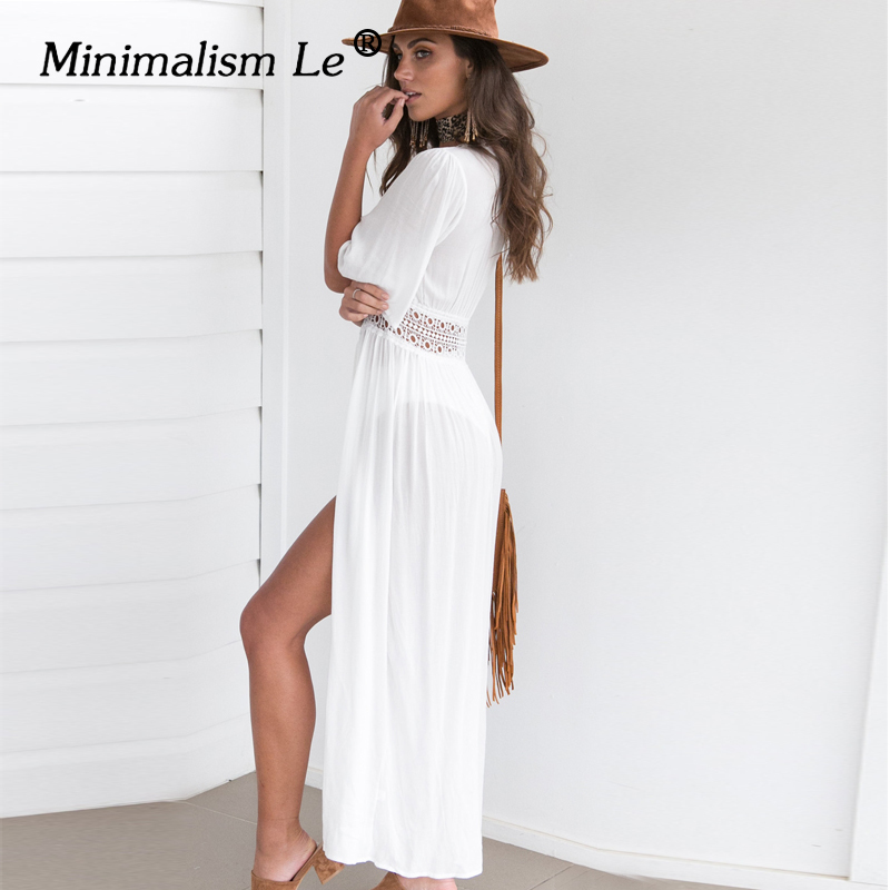 Minimalism Le 2018 Swim Dress New Beach Wear Women Beach Cover Up Summer Bandage Swimsuit Cover Up Sexy See-Through Beach Dress strappy cross back crochet cover up swim dress