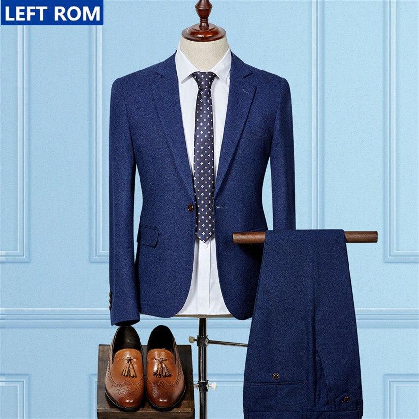 Hommes costumes veste + hommes pantalons 2017 gauche ROM chaud hommes manteau Slim mode affaires hommes costume pantalon de mariage Banquet Top taille S-3XL