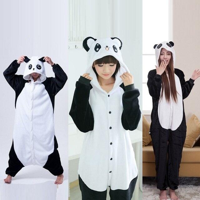 Милый мультфильм кигуруми панда с длинными рукавами комбинезон с капюшоном  для взрослых Для женщин животных прекрасный 22376779d5730