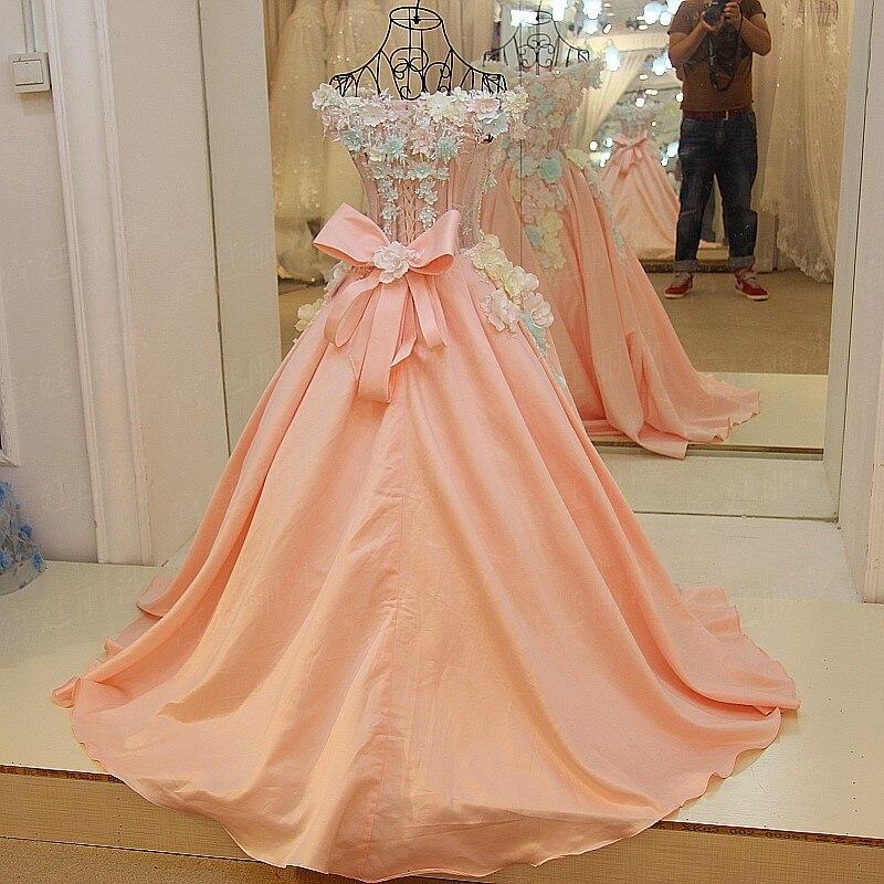 Party Kleider Without A line High Tail grade Mariee Lange Prinzessin Tail Braut Robe De Kleid Blume Satin with Hochzeit Rosa Luxus Süße Spitze Z7vZwAxzHq