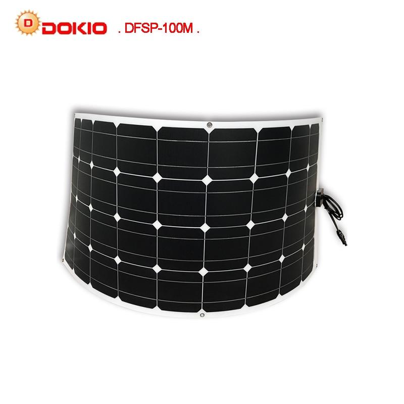 Dokio Brand Solar Panel 100W Monocrystalline Solar Cell Flexible for Car Yacht Steamship 12V 24 Volt