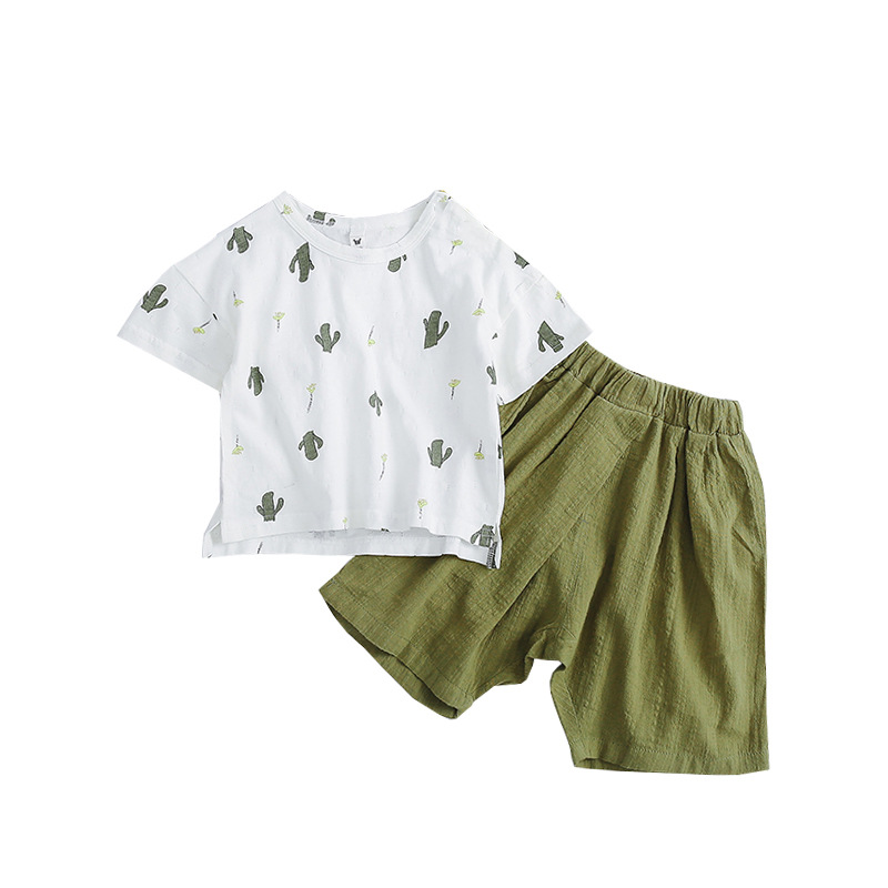 Summer Baby Boy Clothes Fashion Cotton Baby Girl Clothing Set Casual Short Sleeved Cactus Printed T-shirt+linen Pants 2pcs Sets