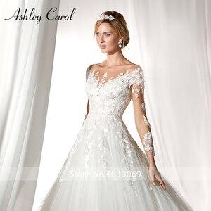 Image 4 - Ashley Carol Langarm Hochzeit Kleid 2020 Sexy Scoop Gericht Zug Braut Kleider Romantische Prinzessin Tüll Vintage Brautkleider