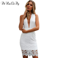 DeRuiLaDy Women Sexy Off Shoulder Bandage Party Dress Deep V Neck Backless Bodycon Dresses White Lace