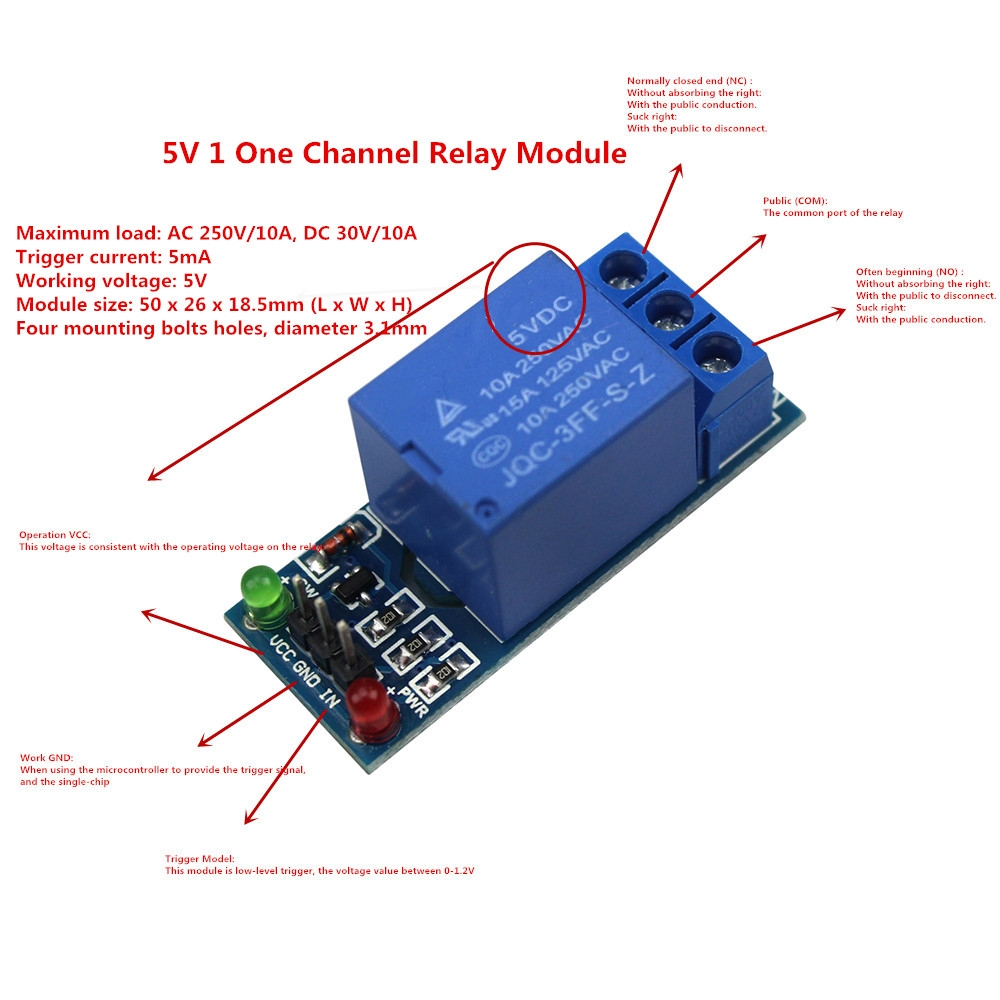 5V 1 One Channel Relay Module Low Level for SCM Household Appliance Control for arduino DIY Kit-in Relays from Home Improvement on Aliexpress.com ...