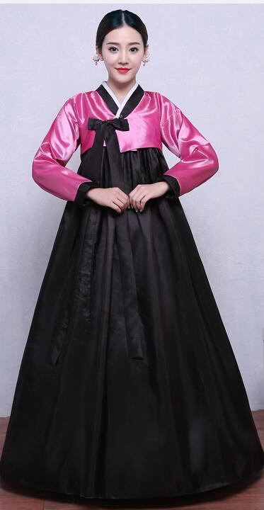 Musta Hanfu-puku Korean perinteinen puku Naiset Hanbok Nainen Kansallinen vaatetus Pitkähihainen Korean antiikin Hanbok-mekko 16