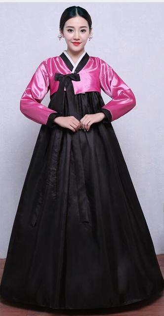 e6b9e4e74b36 Czarny Hanfu Kostium Koreański Hanbok Tradycyjne Kostium Kobiety Kobiece  Ubrania Krajowych Sukienka Z Długim Rękawem Koreański