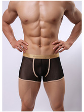 Hot selling!1pcs brand howe ray Transparent gauze sexy ultra-thin men phnom penh pant men's gay underwear sexy boxers