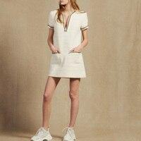 Loose Straight White Knitting Dress Women 2019 Sexy V neck Runway Dress Female Solid with Striped Hem Pockets Summer Dress Black