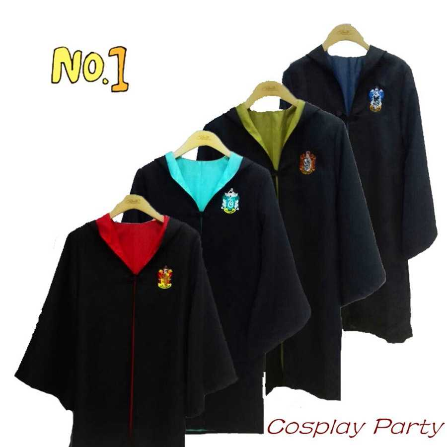 Action HP Quidditchs Colth Hogwarts Robe Cloak Gryffindor Slytherins HP Harri ชุดมายากล Cosplay ประสิทธิภาพผ้า