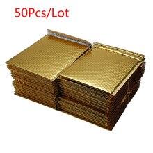 50 шт./лот, разные характеристики, позолоченные бумажные Пузырьковые конверты, сумки для почтовых отправлений, мягкий конверт, пузырьковый почтовый пакет