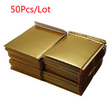 50 PCS/Lot Different Specifications Gold Plating Paper Bubble Envelopes Bags Mailers Padded Shipping Envelope Bubble Mailing Bag(China)