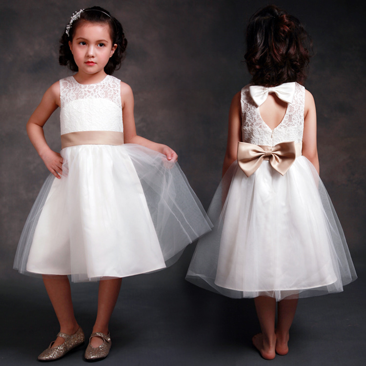 New Fashion   Flower     Girls     Dresses   Ivory Sleeveless Lace   Dresses   with Bow Party   Dresses   Fashion Children Clothes