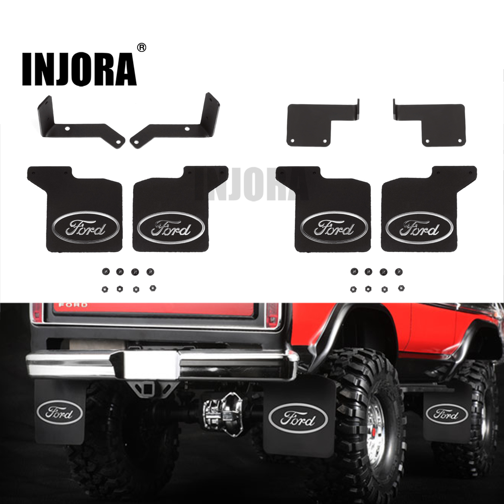 INJORA TRX4 Mud Flaps Rubber Fender with Ford Sticker for 1/10 RC Crawler Traxxas TRX-4 82046-4 Ford Bronco Ranger XLT injora trx4 mud flaps rubber fender with ford sticker for 1 10 rc crawler traxxas trx 4 82046 4 ford bronco ranger xlt
