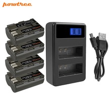 Powtree For Canon 4PCS 7.2V 2800mAh BP-511 BP 511 BP511 BP511A Camera Battery + LCD Dual Charger 300D 40D 5D 20D 30D 50D G6