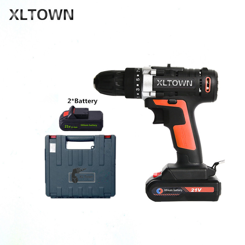 XLTOWN the new 21v multi-function cordless electric screwdriver with 2 battery high-power rechargeable lithium battery drill xltown 12 16 8 21v cordless lithium electric drill with 2 battery multi function rechargeable electric screwdriver power tools