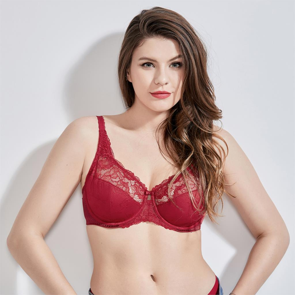 Women's Sheer Beauty Lace Non Padded Full Figure Underwire Minimizer Bra