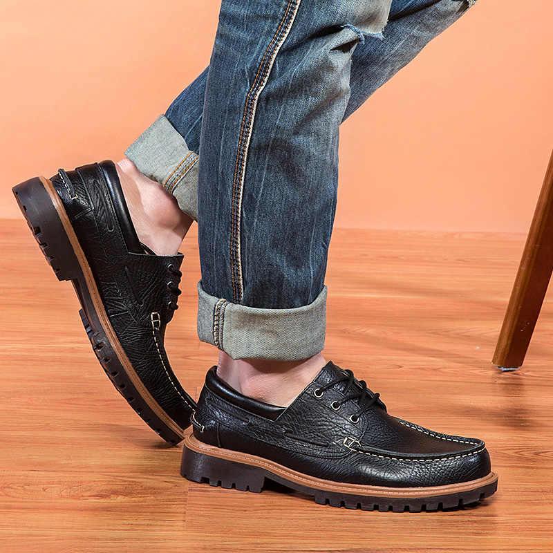 BIMUDUIYU marque automne hiver confortable hommes en cuir véritable chaussures décontractées hommes chaussures plates respirant déodorant mâle grande taille 47
