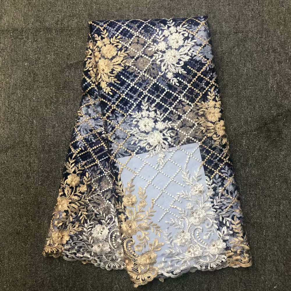 High Quality French African Lace Fabric 5 Yards 2019 New Nigerian Mesh Laces Embroidery Net Lace