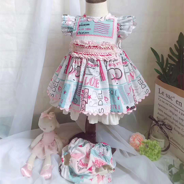 Kids Vintage Spanish Baptism Dresses Baby Summer Frocks for Little Girls Baby Christening Party Clothes Set 1st Birthday Outfits