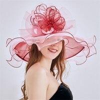 Mingli Tengda 2019 Elegant Organza Wedding Hat Summer Wide Brim Bridal Hats Wedding Fascinators and Hats chapeau bibi mariage