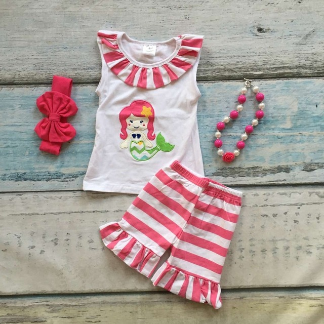 Eyelash summer girls boutique clothing girls mermaid outfits wth stripe ruffle shorts baby girls summer shorts with accessoies