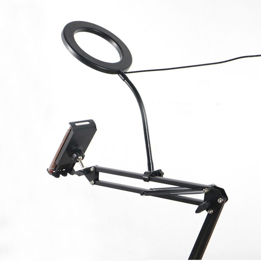 New Tabletop Stands Holder with Clip for Mobile Phones iPad Tablets Bracket Mounts with LED Ring Flash Light for Video Bloggers in Phone Holders Stands from Cellphones Telecommunications